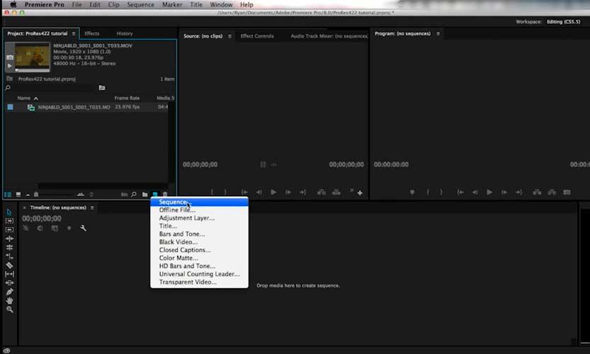 Immagine di uno dei pannelli di adobe premiere pro software fondamentale che utilizza un videomaker matrimonio per il montaggio dei film