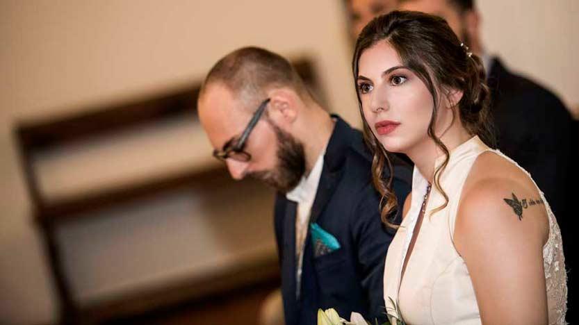 Scatto di un fotografo matrimonialista che ritrae lo sguardo della sposa