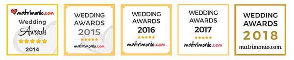 Matrimonio.com bollini annuali del Wedding Awards dal 2014 al 2018