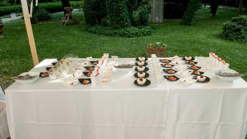 Tavolo con antipasti a Villa Rota Ravenna