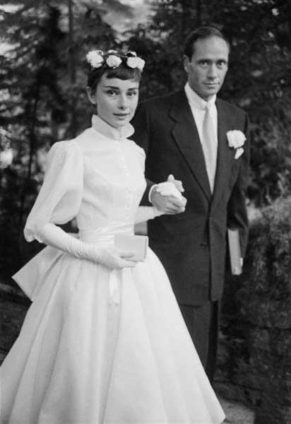 Audrey Hepburn il giorno del matrimonio con Mel Ferrer
