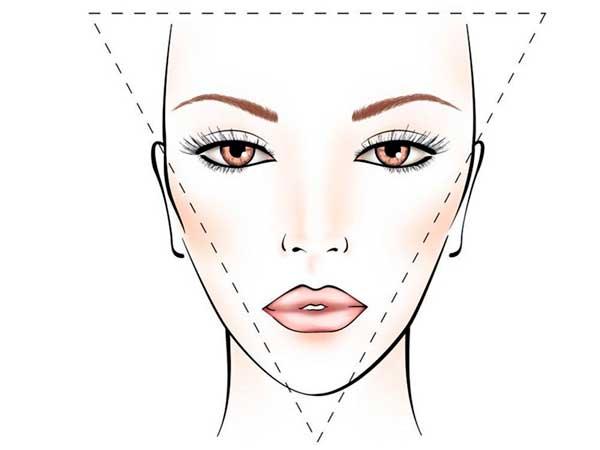 Forma del viso a triangolo rovesciato